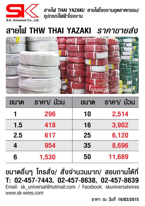 ราคาสายไฟ THW_16032015